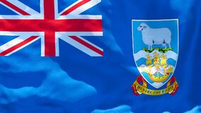 The national flag of Falkland Islands flutters in the wind