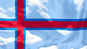 The national flag of Faroe Islands flutters in the wind