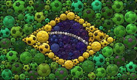 National Flag of the Federative Republic of Brazil Soccer Balls Mosaic Illustration Design Concept Stock Images