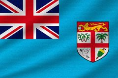 National flag of Fiji. On wavy cotton fabric. Realistic vector illustration Stock Image