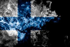 National flag of Finland. From thick colored smoke on a black isolated background Royalty Free Stock Photography