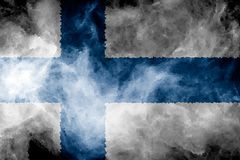 National flag of Finland. From thick colored smoke on a black isolated background Stock Photography