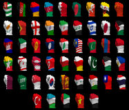 National flag fists of Asia Stock Photography