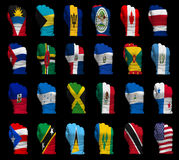 National flag fists of North America. National flag fists of all North America countries on a black background royalty free stock photography