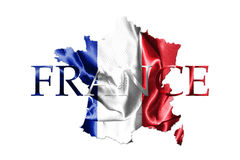 National Flag Of France Waving in the Wind With French Map And C Stock Photography