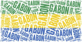 National flag of Gabon. Word cloud illustration. Royalty Free Stock Image