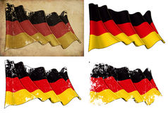 National Flag of Germany. Waving National German flag. 4 options for multiple uses 1) aged paper, 2) clean cut, 3) scratched surface and 4) under texture Royalty Free Stock Images