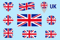 National flag of Great Britain collection. Vector The United Kingdom flags set. Flat isolated icons. Traditional colors. Web, spor vector illustration