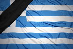 National flag of greece with black mourning ribbon Royalty Free Stock Photography