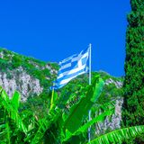 National flag of Greece on the flagpole against of bananas leaf and cypress tree and green mountain slopes. Mediterranean sea,. Somewhere in Greece. Europe stock photos