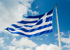 National flag of Greece on flagpole Royalty Free Stock Images