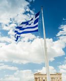 National flag of Greece on flagpole Stock Photos