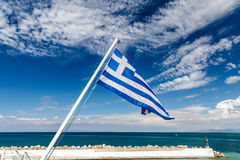National flag of Greece on flagpole Stock Photography