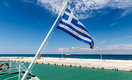 National flag of Greece on flagpole Royalty Free Stock Photos