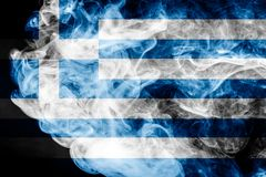 National flag Greece. Made from thick colored smoke on a black isolated background Royalty Free Stock Photos