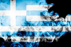 National flag of Greece. From thick colored smoke on a black isolated background Royalty Free Stock Photo