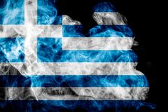 National flag of Greece. From thick colored smoke on a black isolated background Stock Image