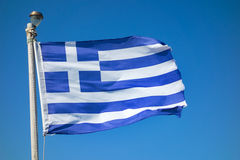 National flag of Greece. Greece flag waving in the wind over blue sky Stock Photo