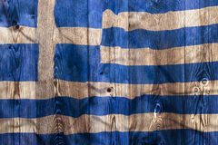 National flag of Greece, wooden background Royalty Free Stock Photos