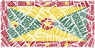 National flag of Grenada. Word cloud illustration. Stock Image