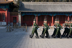 National flag guards. Drilling in the morning Royalty Free Stock Photo