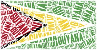 National flag of Guyana. Word cloud illustration. Royalty Free Stock Photo