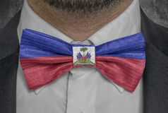 National flag of Haiti on bowtie business man suit royalty free stock photos