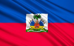 Flag of Haiti - Caribbean, Port-au-Prince. The national flag of Haiti. The coat of arms depicts a trophy of weapons ready to defend freedom and a royal palm for stock illustration
