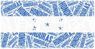 National flag of Honduras. Word cloud illustration. Royalty Free Stock Photography