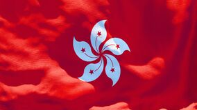 The national flag of Hong Kong flutters in the wind