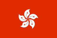 National flag of Hong Kong. Patriotic sign in official color and flower. Symbol of Special Administrative Region of the People`s Republic of China. Vector icon Royalty Free Stock Photo