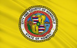 State Flag of Honolulu - a city on the island of Oahu of the Haw royalty free illustration