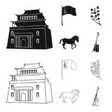 National flag, horse, musical instrument, steppe plant. Mongolia set collection icons in black,outline style vector. Symbol stock illustration Stock Images