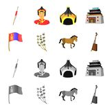 National flag, horse, musical instrument, steppe plant. Mongolia set collection icons in cartoon,monochrome style vector. Symbol stock illustration Stock Photography