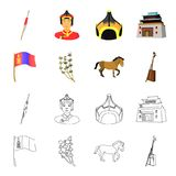 National flag, horse, musical instrument, steppe plant. Mongolia set collection icons in cartoon,outline style vector. Symbol stock illustration Royalty Free Stock Images