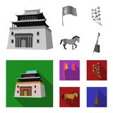 National flag, horse, musical instrument, steppe plant. Mongolia set collection icons in monochrome,flat style vector. Symbol stock illustration Royalty Free Stock Photography