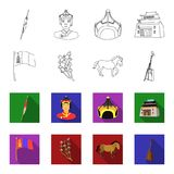 National flag, horse, musical instrument, steppe plant. Mongolia set collection icons in outline,flat style vector. Symbol stock illustration Stock Image