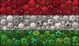 National Flag of Hungary Soccer Balls Mosaic Illustration Design Concept Stock Image