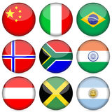 National flag icon set 2. Circle national flag icon set. Vector illustration Stock Photography