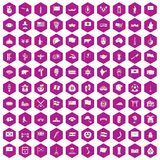 100 national flag icons hexagon violet. 100 national flag icons set in violet hexagon isolated vector illustration stock illustration