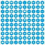 100 national flag icons set blue. 100 national flag icons set in blue hexagon isolated vector illustration stock illustration