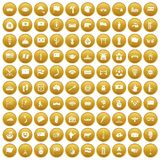 100 national flag icons set gold. 100 national flag icons set in gold circle isolated on white vector illustration Royalty Free Stock Photo