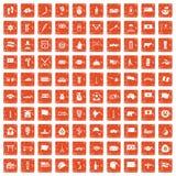 100 national flag icons set grunge orange. 100 national flag icons set in grunge style orange color isolated on white background vector illustration Stock Photo