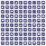100 national flag icons set grunge sapphire. 100 national flag icons set in grunge style sapphire color isolated on white background vector illustration Stock Photography