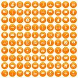 100 national flag icons set orange. 100 national flag icons set in orange circle isolated on white vector illustration Stock Images