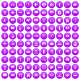 100 national flag icons set purple. 100 national flag icons set in purple circle isolated on white vector illustration Stock Image