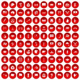 100 national flag icons set red. 100 national flag icons set in red circle  on white vector illustration Royalty Free Illustration