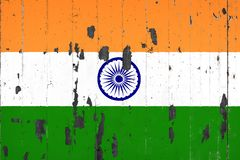 National flag of India on the background. Of an old mettale covered with peeling paint royalty free illustration