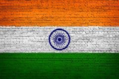 National flag of India on a brick. Background stock illustration
