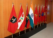 National Flag and the flags of different regiments of Indian Army at Hall of Fame, Leh. National Flag of India at the centre flanked on either side by the Royalty Free Stock Photography